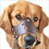 Hiado Adjustable Leather Dog Muzzle for Biting