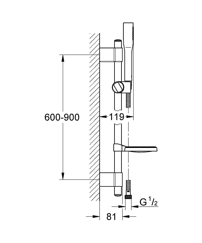 GROHE 26404000 Euphoria Cosmopolitan Stick Set Support Mural et douchette 1 Jet Chrome