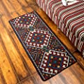 TideTex Vintage Ethnic Style Geometric Patterns Bedroom Rugs Bedside Rug Runner Retro Washable Bathroom Area Rug Kitchen Rug Mats Door Mats Non-slip Foot Mats