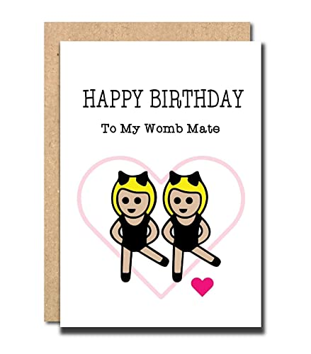 Funny Birthday Card For Sister Womb Mate Brother Twins Friend
