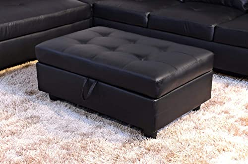 Flashbuy Fine Furniture Sectional Sofa Set Luxurious Faux Leather 3 Pieces with Ottoman 091A