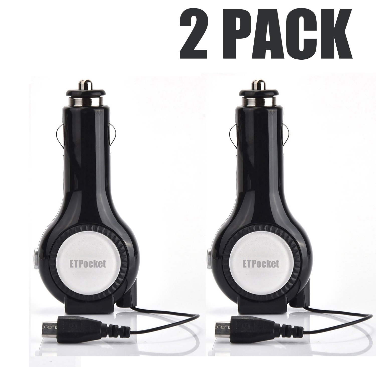ETPocket Car Chargers, Tangle-free Retractable Micro USB Cable Car Charger With 1 USB Charging Port for Samsung S5 S4 S3 and Other Micro USB Device (2 Pack Black)
