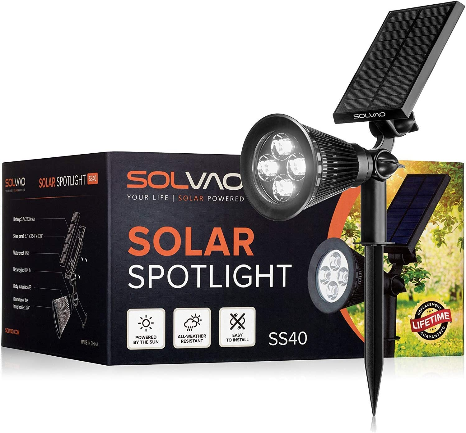 SOLVAO Solar Spotlight (Upgraded) - Ultra Bright, Waterproof, Outdoor LED Spot Light with Auto On/Off Function - Best Sun Powered, Rechargeable Uplight for Lighting Flag Pole, Landscape, Yard & Garden - -