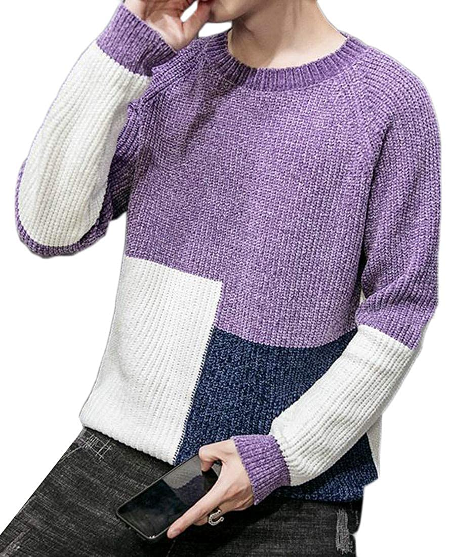 Sayhi Mens Crew-Neck Color Block Knit Loose Fit Pullover Sweater Jumper