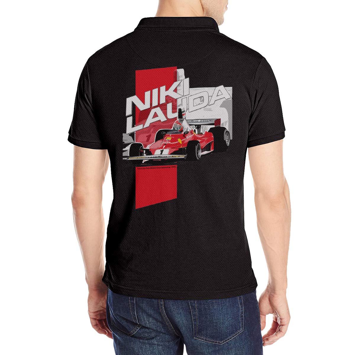 Arilce Niki Lauda F1 1976 Men Polo Shirt Short Sleeve Lapel Blouse Black