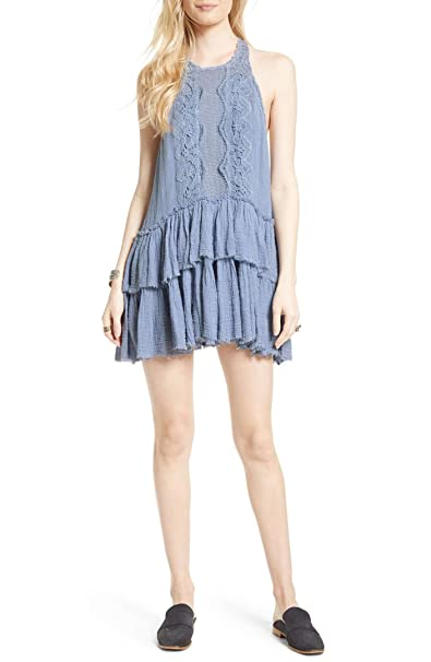 a12cb369b3e1b0 Image Unavailable. Image not available for. Color  Free People Womens  Vanessa Mini Sleeveless Babydoll Dress Blue XS