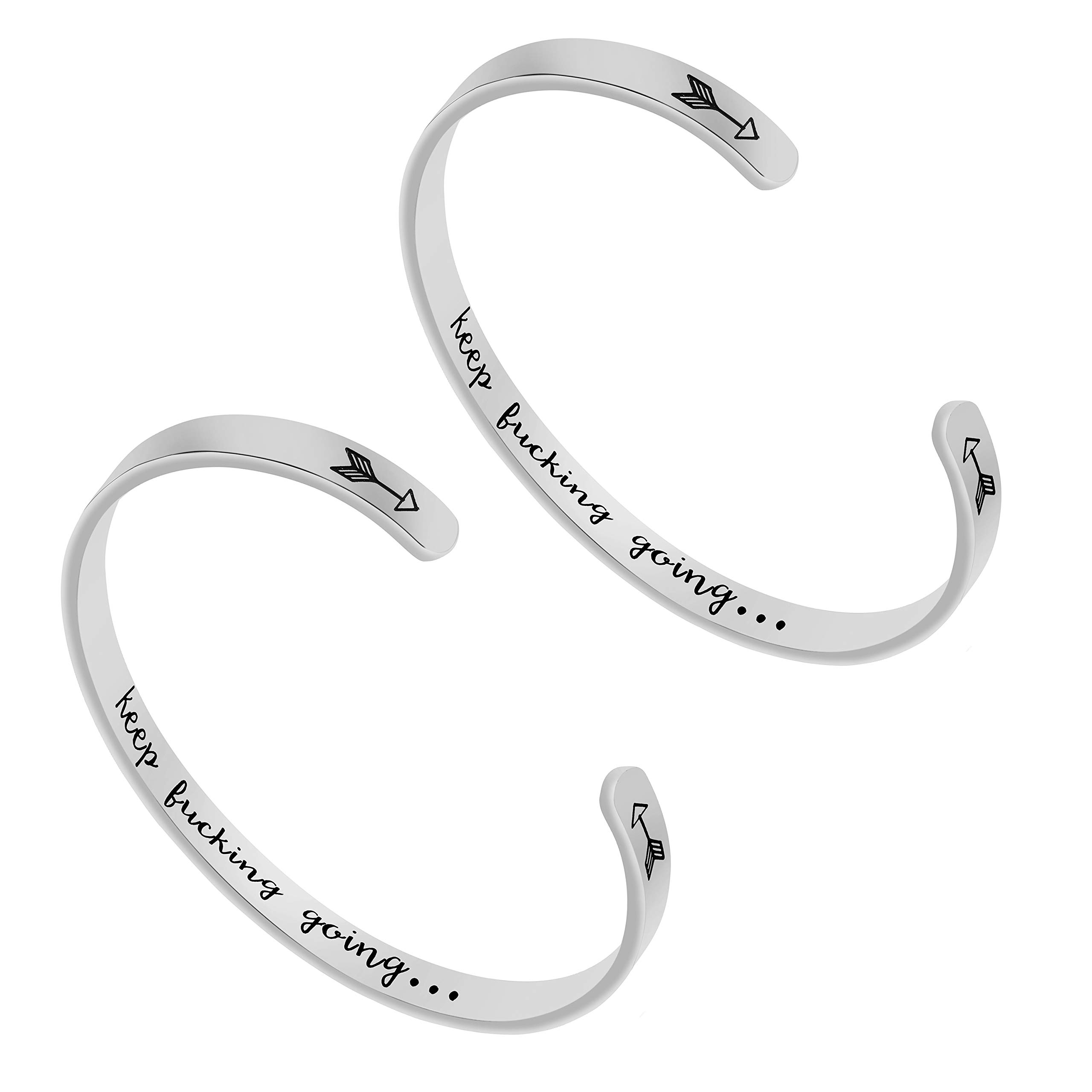 Fashionalife Inspirational Gifts for Women Cuff Bangle Bracelets Stainless Steel Jewelry Engraved Message