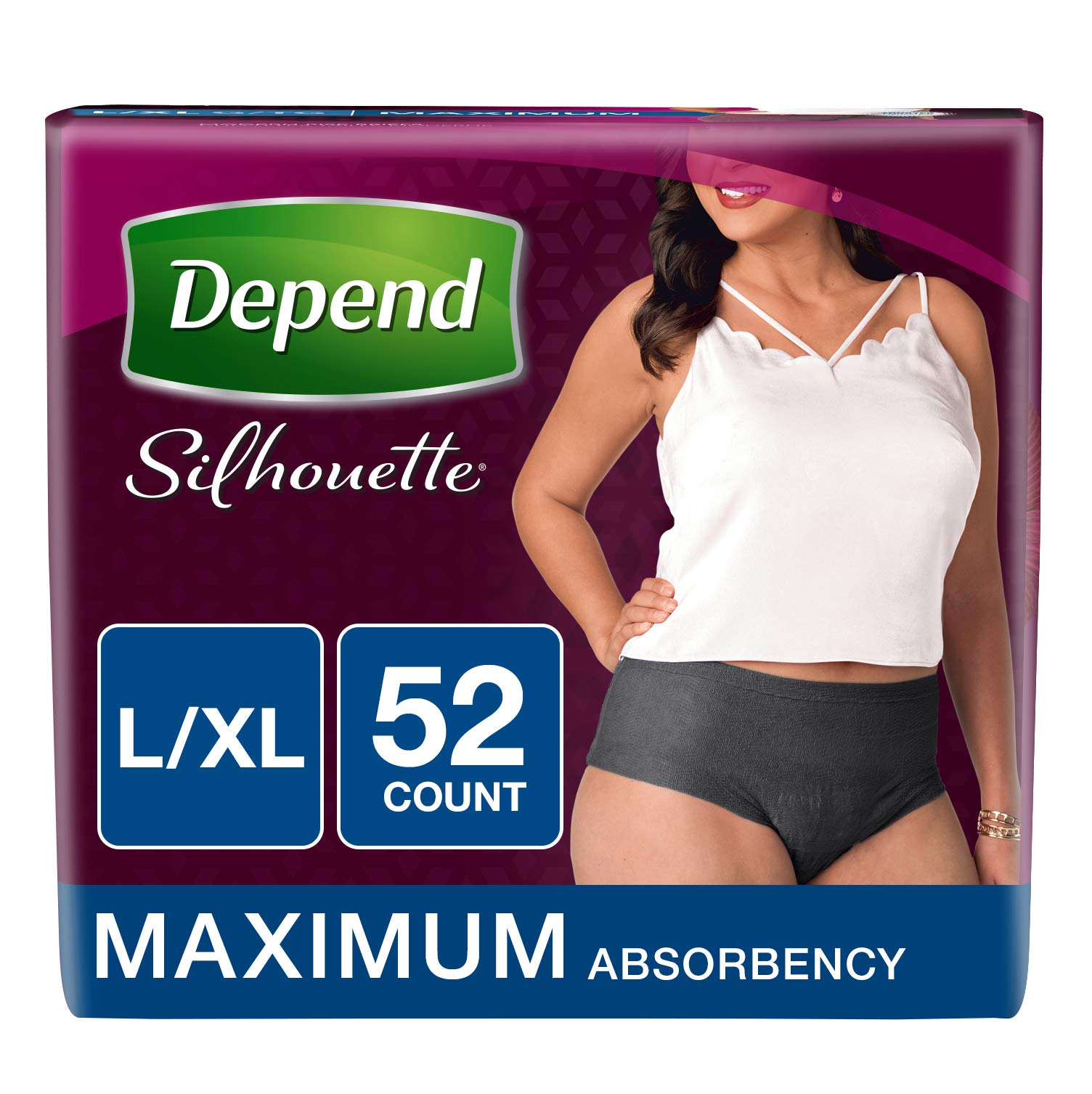 Depend Silhouette Incontinence Underwear for Women, Maximum Absorbency, L/XL, Black, 52 Count by Depend