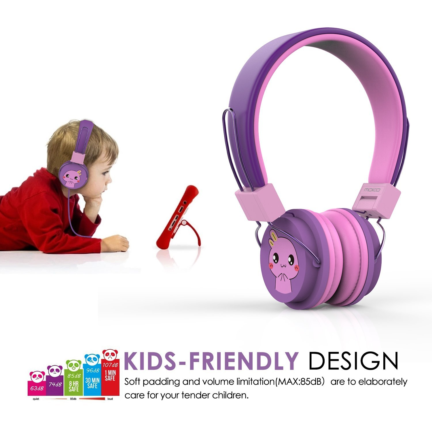 MoKo Kids Headphones, On-Ear Headphones Volume Limited Wired (1.5m/4.9ft) Headset with SharePort for Children, Fits LeapFrog, Orbo Jr, Dragon Touch ...