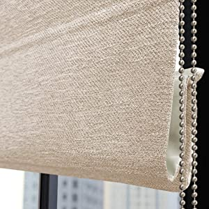 Roman Shades Window Blinds, Beige Lined Blackout Light Filtering Window Shades,Custom Corded Roman Shades for Home, Window, Fabric,French Door, Kitchen