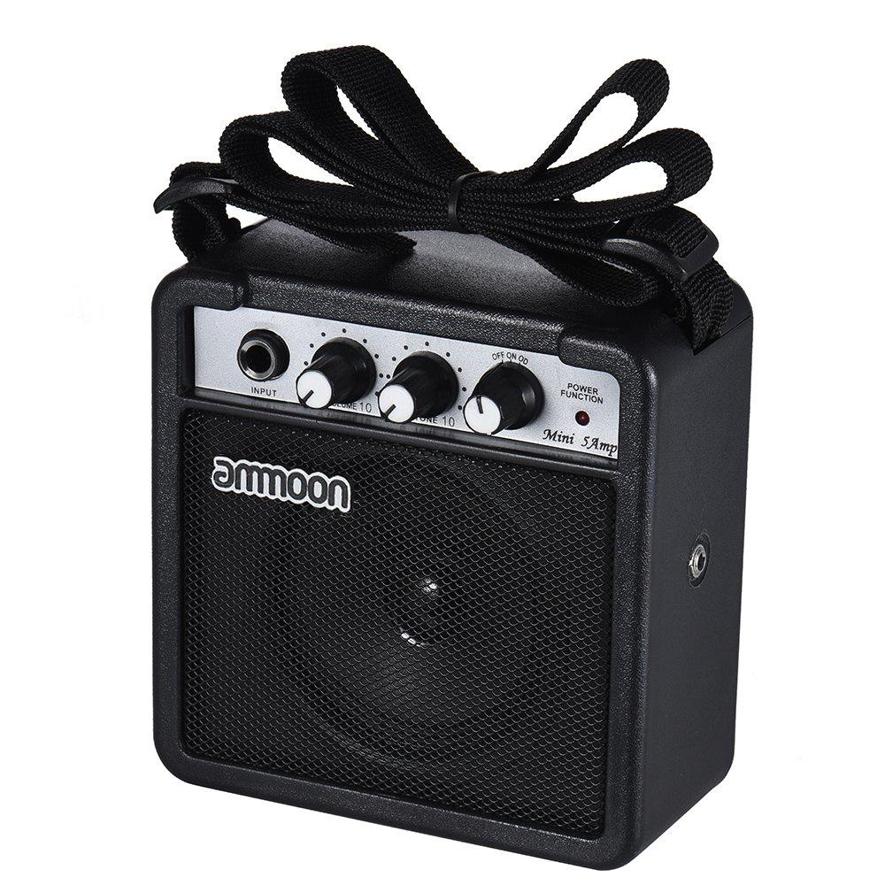 ammoon Guitar Amplifier Speaker Mini 5 Watt 9V Battery Powered Amp for Acoustic/ Electric Guitar Ukulele High-Sensitivity with Volume Tone Control