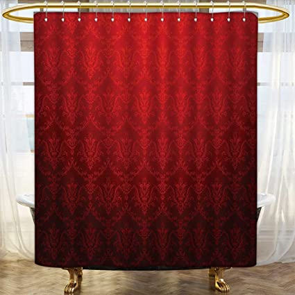 Dark Red Print Shower Curtain Antique Floral Pattern With Baroque Royal Renaissance Influences And Ombre Effect