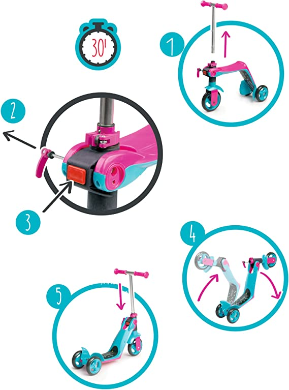 Amazon.com: Smoby - Patinete reversible 2 en 1, color rosa ...