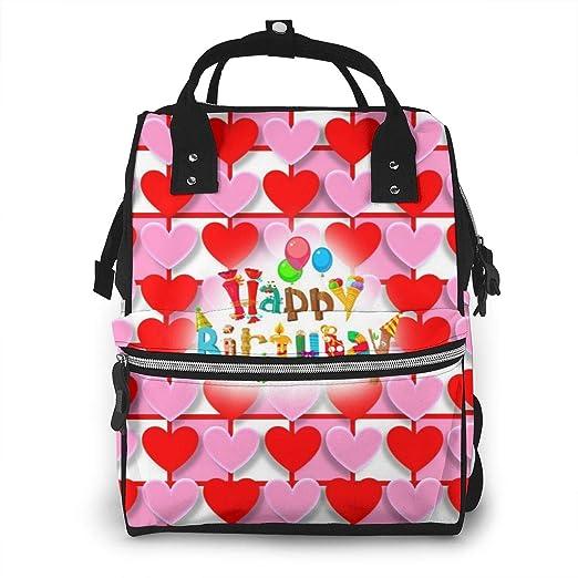 DKLSH Hearts Love Valentine - Mochila Impermeable para pañales con Dos Bolsillos y Ocho Compartimentos Elegante y Duradera para Padres