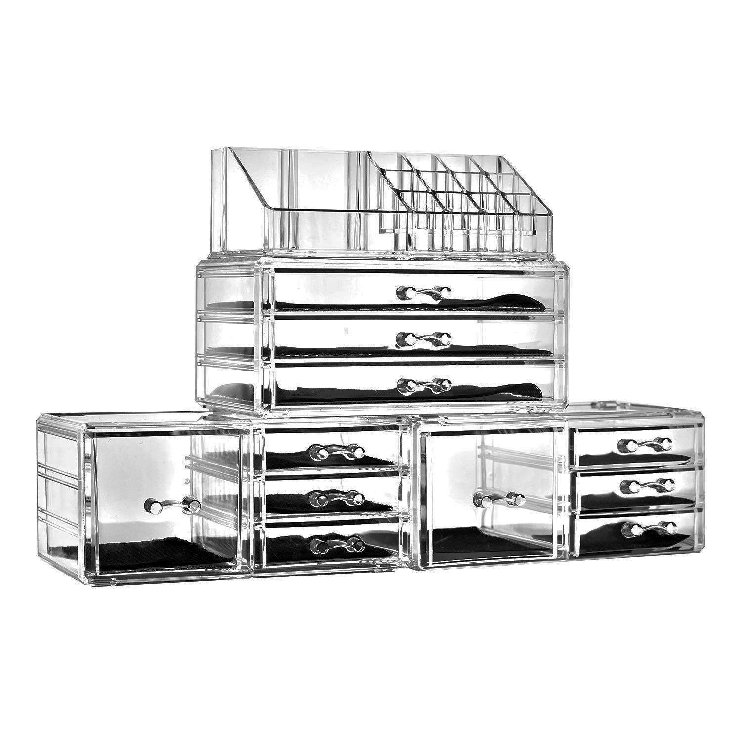 SF-1122-10 4Pcs / Set Plastic Cosmetics Storage Rack Transparent by Tenozek (Image #2)