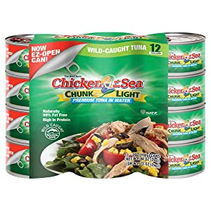 12-count -Chicken of the Sea Chunk Light Premium Tuna in Water, 7 oz, 12-count (Easy EZ-Open Can)