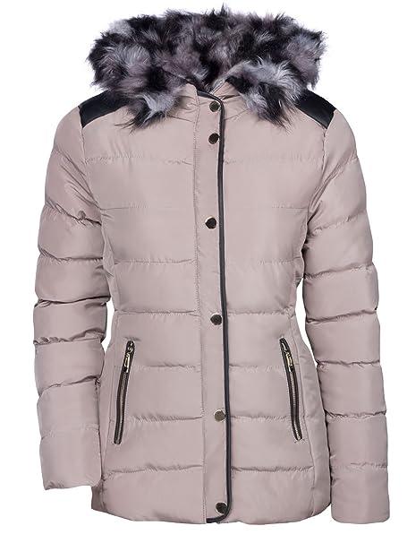 OHH Fashion Damen Winter Jacke Fell Kapuze DAUNEN Optik Mantel KIRZ GEFÜTTERT