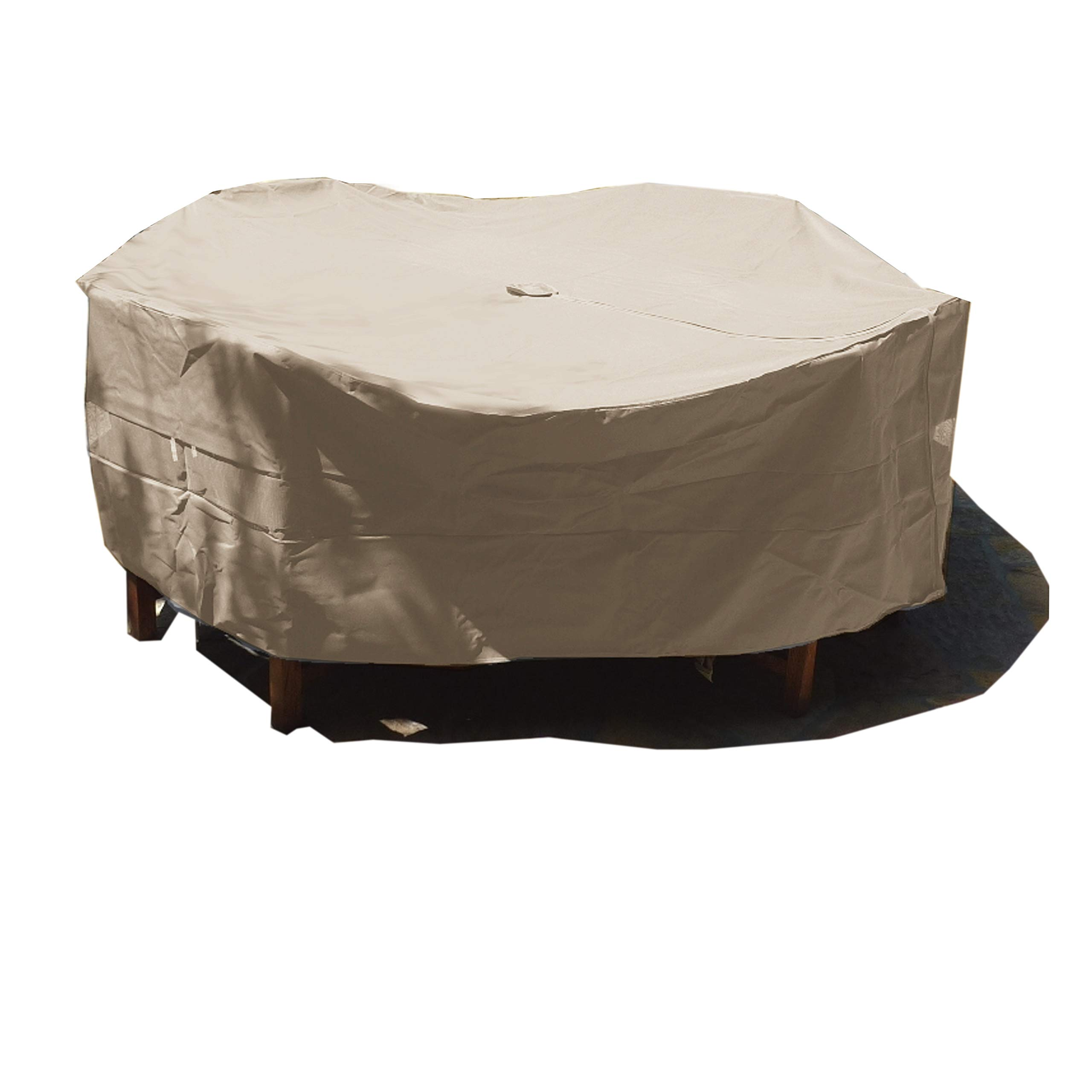 Patio Set Cover 104'' Dia. Fits Square, Oval or Round Table Set, Center Hole for Umbrella. by Formosa Covers