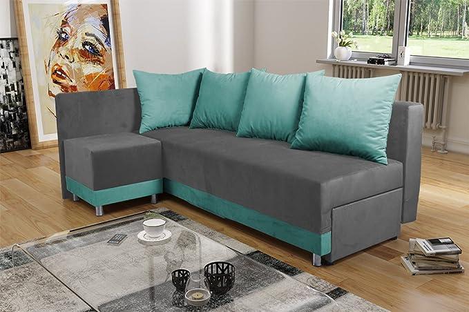 MALAGA Moderna Tela Verde y Gris sofá Cama sofá con ...