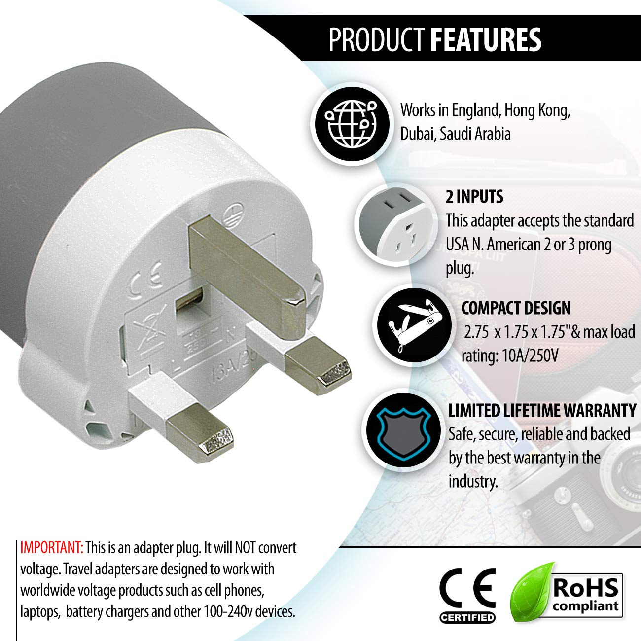 Amazon.com: OREI 3 in 1 UK Travel Adapter Plug with USB and Surge ...