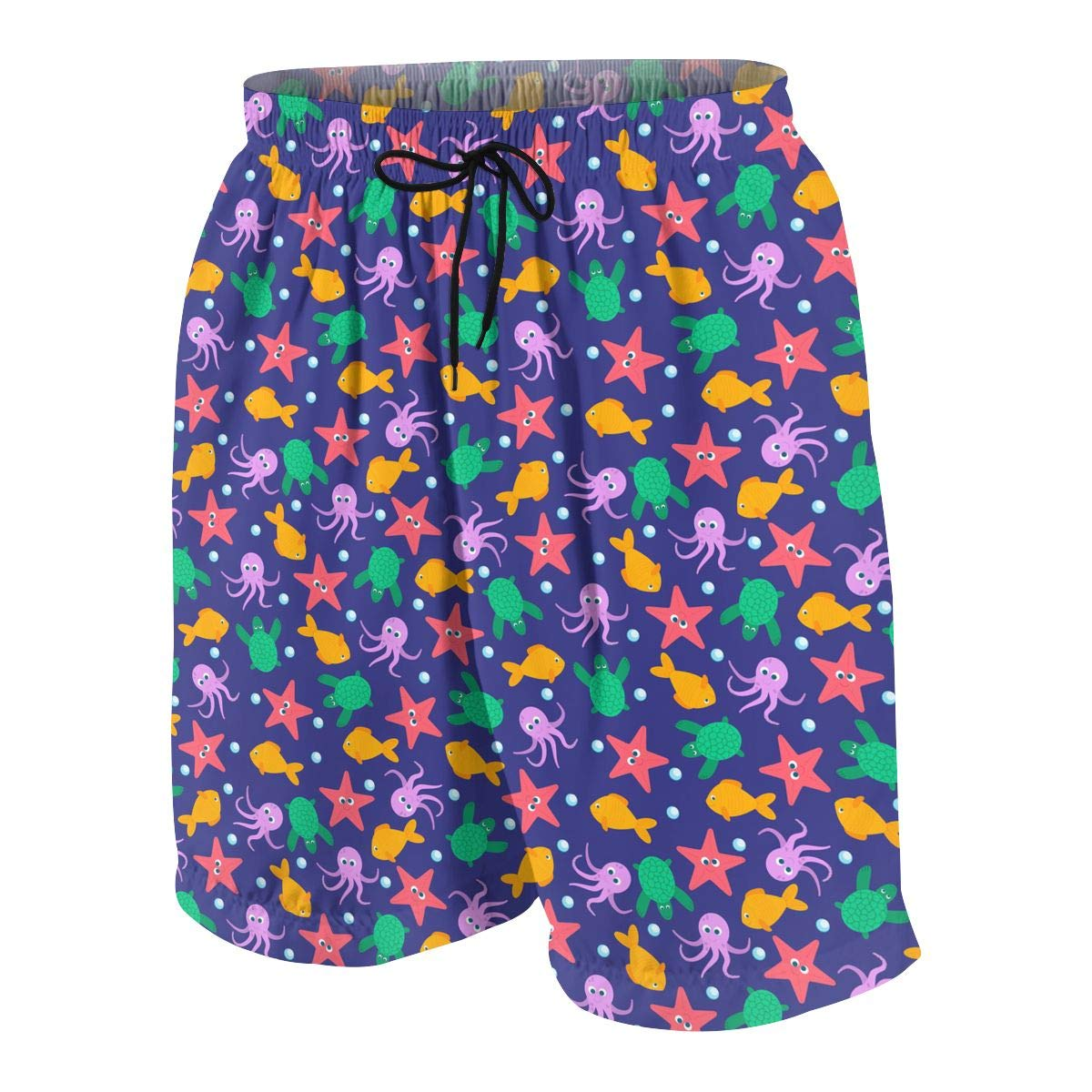 Youth 3D Printed Beach Shorts Polyester Fish,Octopus,Turtle Pattern Beachwear with Pockets