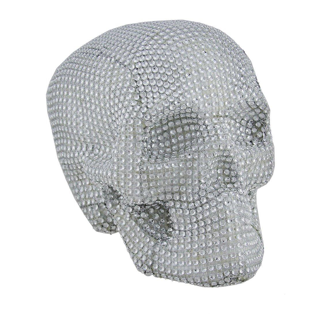 Zeckos Scary Sparkling Rhinestone Glam Skull Statue by Zeckos