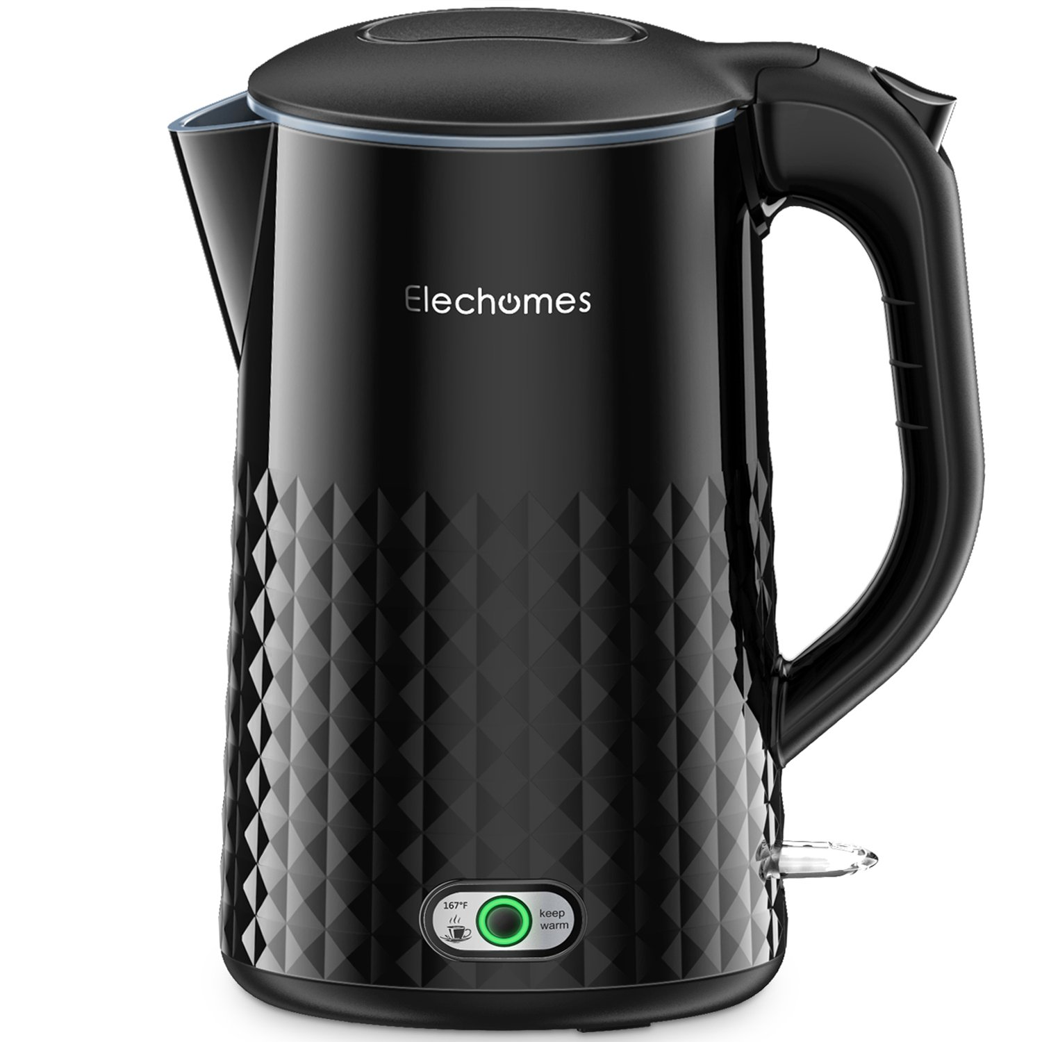 Elechomes Electric Kettle with Non-stick Coating, Smart Keep Warm,Stainless Steel Interior,Cool Touch Exterior and Vacuum Layer, 1.7L,Black