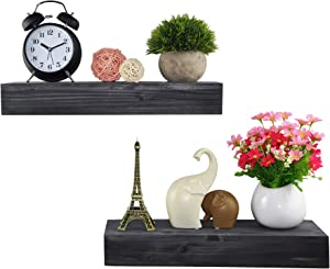 Spiretro Dimension Floating Shelves Wall Mounted Set of 2, Rustic Torched Wood -16.5 inch Ledge to Storage Organize and Display for Bedroom, Living Room, Bathroom, Kitchen, Office - Weathered Grey…