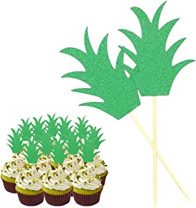 24Pcs Pineapple Cupcake Toppers Glitter Green Pineapple Donut Picks for Tropical Party Summer Party Luau Party Hawaiian Theme Party Birthday Party Cake Food Decoration Wedding Bridal Shower Supplies