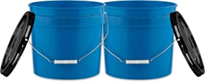 House Naturals 3.5 Gal Blue Plastic Buckets Food Grade BPA Free pails with Lids - Pack of 2 - Made in USA