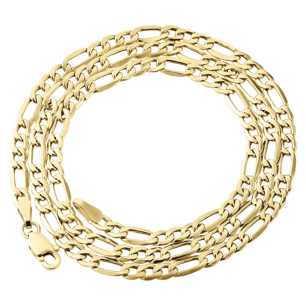 10K Yellow Gold 3.5mm Figaro Chain Necklace Lobster Clasp, 24 Inches