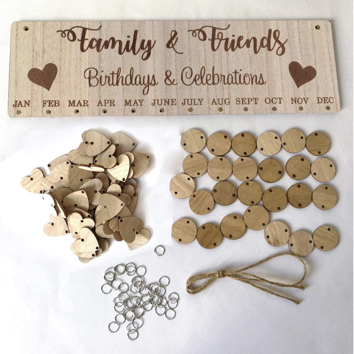 Vosarea Famliy and Friends Birthdays and Celebrations Reminder Calendar Wooden DIY Calendar Birthday Anniversary Reminder Hanging Decorcation