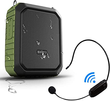 Amazon Com Portable Bluetooth Waterproof Voice Amplifier Wireless Headset Microphone Small Personal Voice Amplifier 18w 4400mah Rechargeable Wearable Mic System For Teachers Or Outdoors Musical Instruments