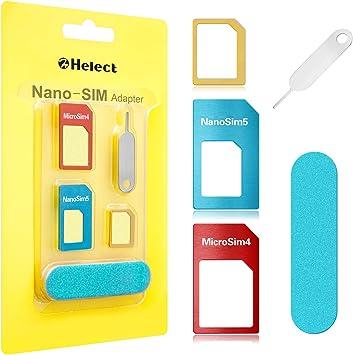 Helect Adaptador de Tarjeta SIM, 5-en-1 Nano para Adaptador de Tarjeta SIM Nano y Micro SIM Kit de Tarjeta Convertidor con Herramientas Polaco Chip y Expulsar Aguja: Amazon.es: Electrónica