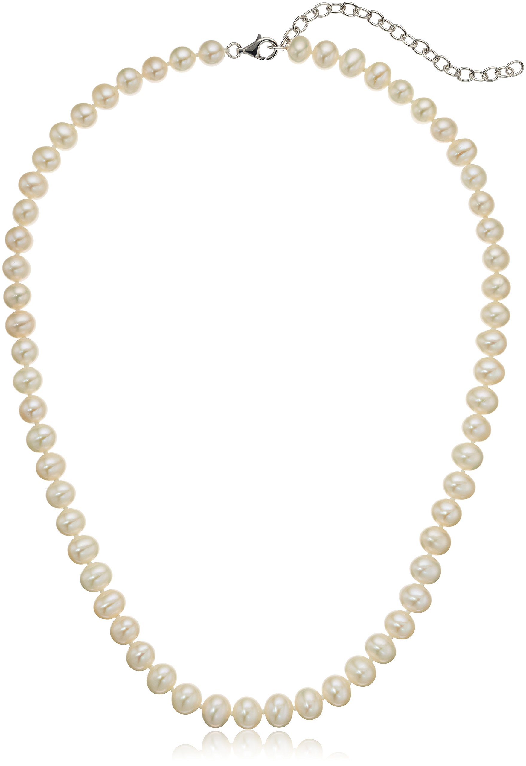 Freshwater Cultured White 18'' with 3'' Extender Silver Chain Pearl Strand