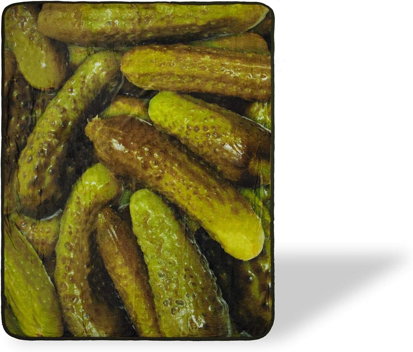 Pickles Fleece Throw Blanket | Large Soft Fleece Pickle Blanket | Food Blanket Soft Blankets And Throws | Officially Licensed Pickle Throw Blankets | Measures 60 x 45 Inches