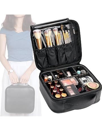 94dfe77d4c0f VASKER Makeup Case Travel Cosmetic Bag Leather Organizer Bag with  Adjustable Divider Storage Case for Girl