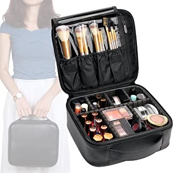 f02fea2f7c VASKER Makeup Case Travel Cosmetic Bag Leather Organizer Bag with  Adjustable Divider Storage Case for Girl