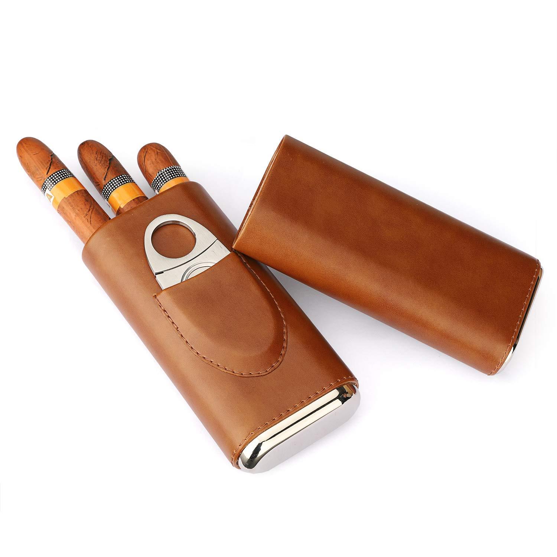 Cigar WSKY Portable moisturizer Cigar Case 3 Sticks, Imported Cedar Wood Lined Cigar humidor Cigar Box Stainless Steel Cutter Set