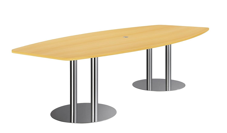 Hammerbacher Konferenztisch KT28S Säulenfüße, Buche/chrom