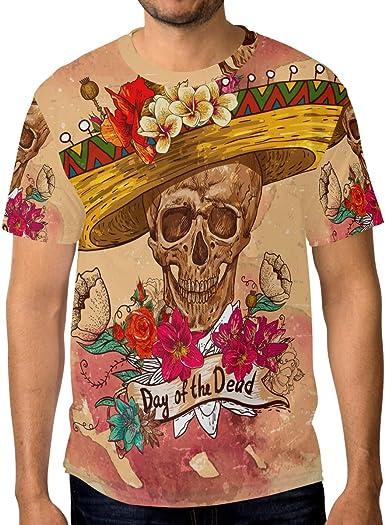 Camiseta de manga corta para hombre con diseño de calavera en ...