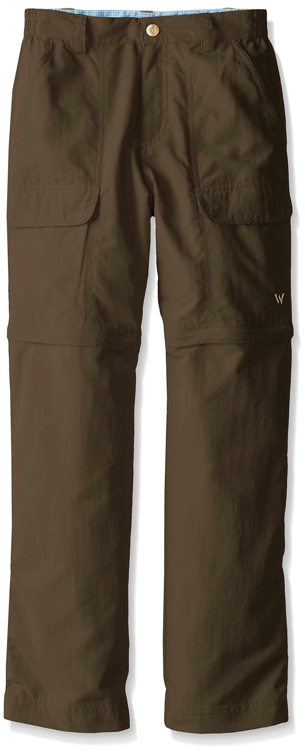 White Sierra Youth Trail Convertible Pants, Bark, Large
