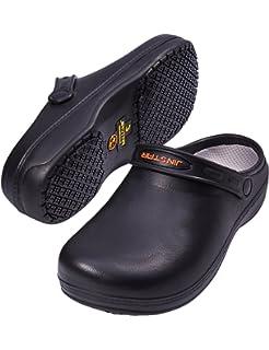 jinstar unisex black non slip chef shoes slip resistant work clogs for kitchen men women - Non Slip Kitchen Shoes