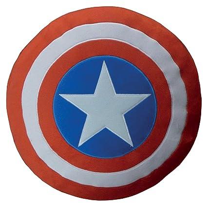 CTI 043538 Avengers – Cojín (36 x 36 cm), diseño del Escudo del Capitán América, Colores Rojo, Azul y Blanco