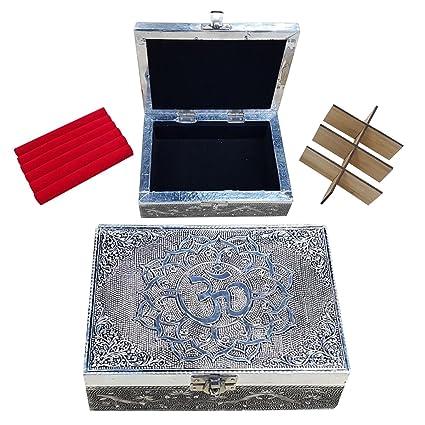 Kavali Concepts Caja Decorativa Tallada de Madera Aluminio Imprimido Joyero para Guardar Anillos Baraja Tarot con