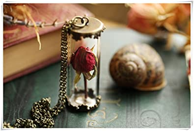 sea-maiden® Real Rose Necklace, red Rose Bud, I Love You, Romantic  Jewellery, Symbolic