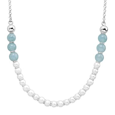Silpada Blue Me Away Natural Blue Jade /& 6 mm Freshwater Cultured Pearl Necklace in Sterling Silver