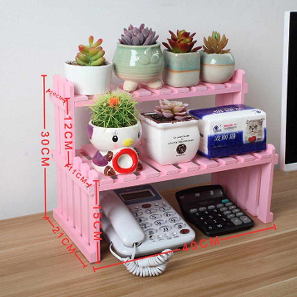 Gbf Fiorista per desktop in legno massello portaoggetti per ufficio portabottiglie bonsai stand per piante carnose rosa (Dimensione   40x21x30cm)