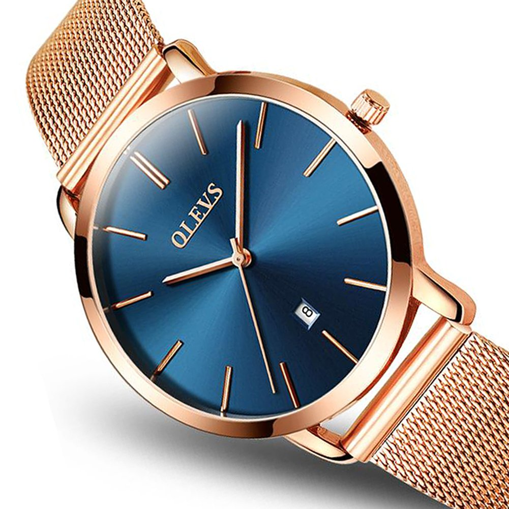 Women Ultra Thin Watch Blue Dial,Quartz Watches for Ladies, Watches Womens Rose Gold OLEVS Lady Watches on Sale Stainless Steel Wrist Watch for Women,Fashion Date Analog Sports Clock Simple Wristwatch