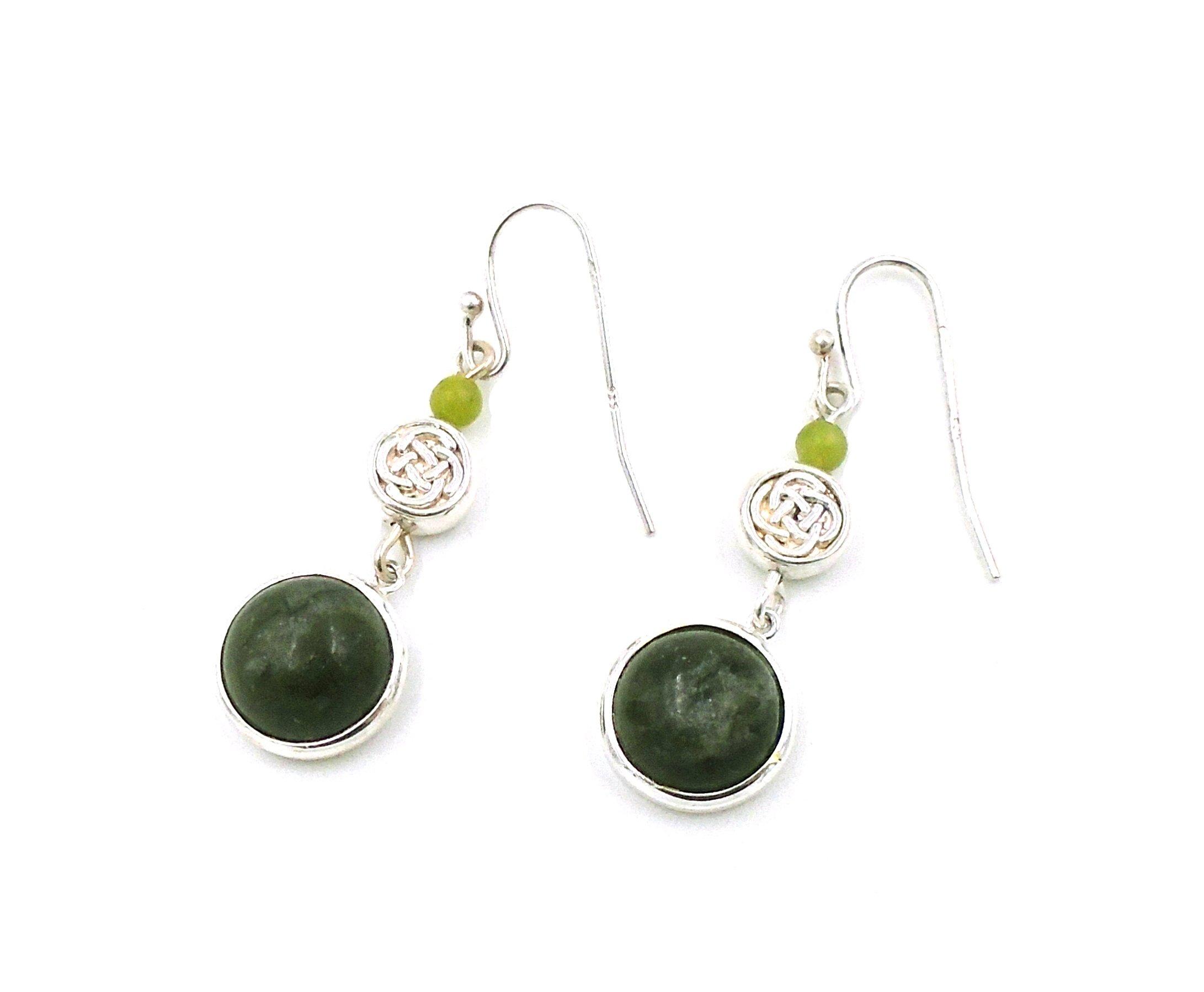 Irish Connemara Marble: Sterling Silver ''Celtic Knot'' Hanging Earrings…
